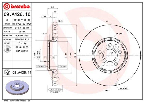 Disque de frein Brembo Xtra Line BREMBO 09.a426.1x