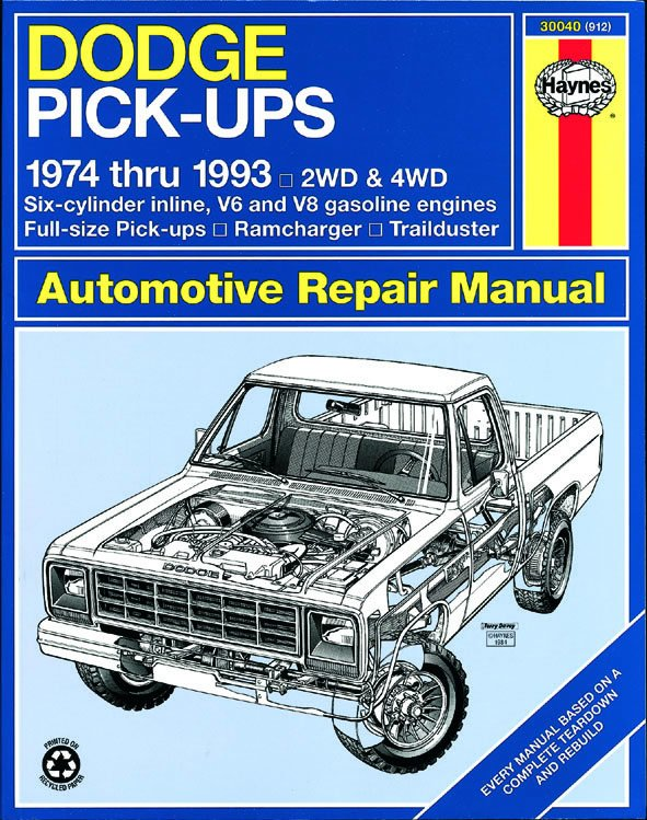 [Manuel US en Anglais] Dodge Full-Size Pick-up  '74 -  '93