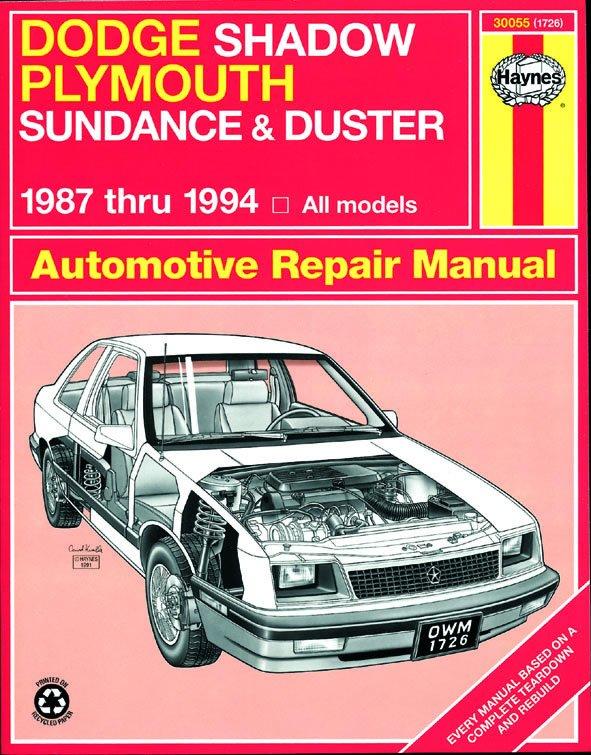 [Manuel US en Anglais] Dodge Shadow & Plymouth Sundance  '87 -  '94