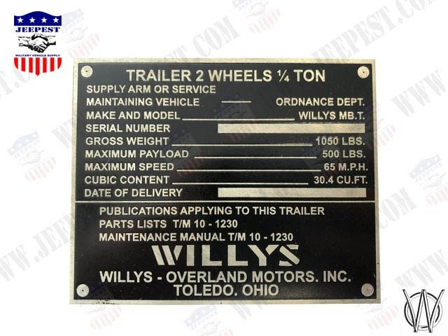 PLAQUE IDENTIFICATION REMORQUE WILLYS