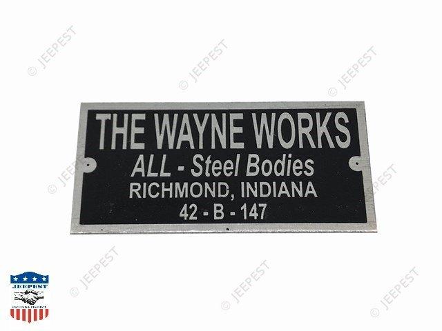 PLAQUE IDENTIFICATION THE WAYNE WORKS WC54