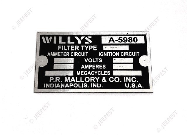 PLAQUE IDENTIFICATION FILTERETTE WILLYS